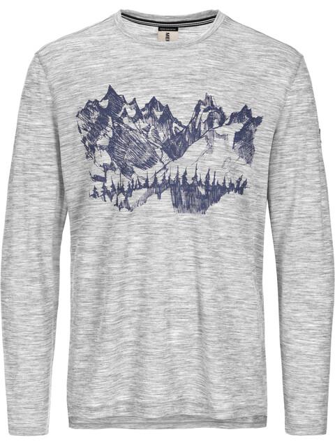 super.natural Graphic LS 140 Men Ash Melange/Mountain Sketch Print